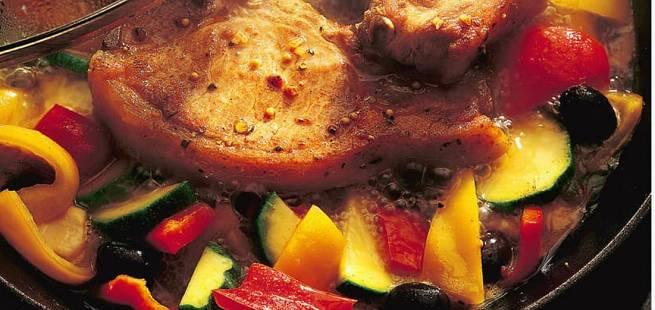 Brasserte koteletter med spansk vri