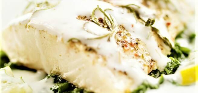 Dampet breiflabb med spinat