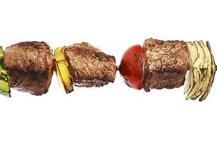 Grillspyd med svinekjøtt og eksotisk frukt