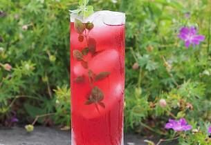 High Tea - alkoholsvak akevittdrink med bringebær