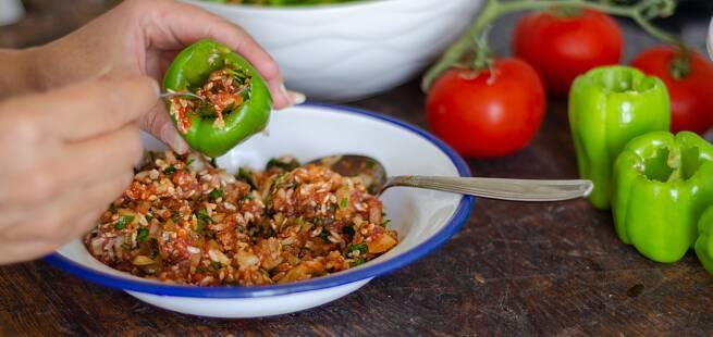 Fylte grønnsaker - Yiemista som i Hellas